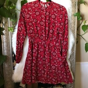 S Red Floral Dress